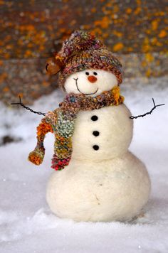 Snowman  Wool Needle Felted Snowmen  Holiday by BearCreekDesign, $60.00