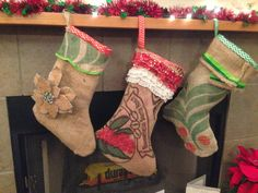 How to make lined burlap Xmas Socks with cuff too.