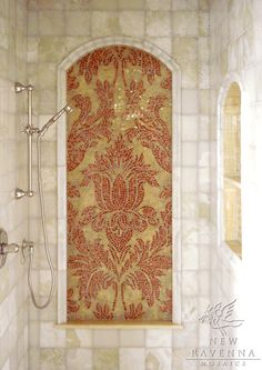 Kingston Lacy Mosaic Shower Panel in Rojo Alicante and Honey Onyx ~ Rogers & Goffigon for New Ravenna Mosaics Mosaic Shower Tile, Shower Tile Designs, Mosaic Tiles, Dream Bathrooms, Beautiful Bathrooms, Master Bathrooms, Basement Bathroom, Master Bedroom, Kingston Lacy