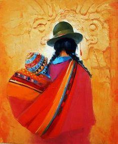 'Marche de San Cristobal'' by Georges Corominas Art Latino, Art Péruvien, Mexican Paintings, Peruvian Art, Southwest Art, Indigenous Art, Mexican Folk Art, Native American Art, Fabric Painting