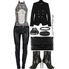 LEATHER & LACE ________________________________________ Blazer   Pants   Shoes: #BALMAIN Bodysuit: #LAPERLA Bracelet: #DAVIDYURMAN Ring: #OVERSTOCK #CROWNED #TEAMCARTIER #FASHION #FASHIONKILLA #EPIC #STYLED