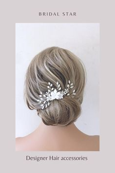 Add the perfect finishing touch to your wedding hairstyle with this crystal and pearl bridal hair piece. As the bridal headpiece is flexible it can be shaped to suit any hairstyle. Available in silver or gold this bridal hair vine is the perfect hair accessory. Please visit our website for more stunning wedding hair accessories. Bridal hair comes work with most hairstyles unlike tiaras which only work on top of your hair. Using hair spray helps the wedding hair comb to stay in place securely. Bridal Hair Down, Bridal Hair Updo, Boho Wedding Hair, Wedding Hair Clips, Bridal Hair Flowers, Bridal Hair Pins, Wedding Hairstyle, Wedding Veil, Flower Hair Pieces