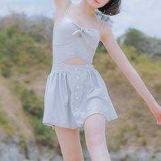 M-XL Gray Two-Piece Braces Swimsuit SP166589