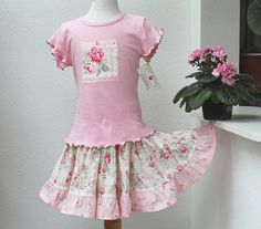 New for Spring 2017! Girl's Easter Outfit Spring Girl Clothes Pink Roses Twirl Skirt by BerryPatchUSA