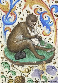 Monkey, seated on ground beside cask and embracing cat | Book of Hours | France, Paris |  ca. 1460 | The Morgan Library & Museum