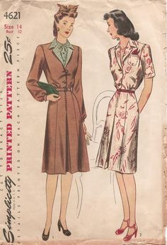 MISSES' AND WOMEN'S DRESS. The waist has back yoke which is gathered at the lower edge and a pleat at the front of the shoulder. A center pleat trims the back and the front of the skirt. Style I has a contrasting dickey and revers. A notched collar and a welt pocket finish Style II. Choose long sleeves with wrist bands or short sleeves with cuffs.