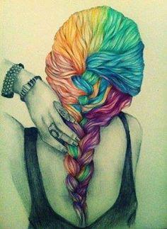 Beautiful #hair #color!  #draw #cartoon #illustration #rainbow #braid #cbdsalon #waynenjsalon