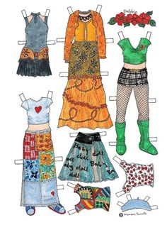 Karen`s Paper Dolls: Debbie 1-6 Paper Doll in Colours. Påklædningsdukke Debbie 1-6 i farver.