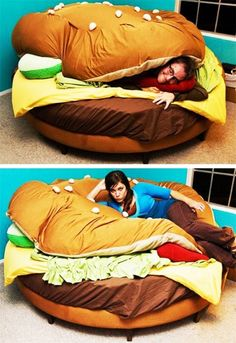 A fun idea for a bed in a kids room. A fun idea for a bed in a kids room. A fun idea for a bed in a kids room. Cool Ideas, My New Room, My Room, Hamburger Bed, Take A Nap, Bed Furniture, Funny Furniture, Cool Stuff, Funny Stuff