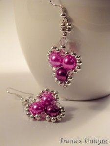 ✿ Pink Spades Swarovski, Pearl Earrings, Unique, Floral, Shop, Pink, Handmade, Jewelry, Bead