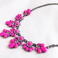 Neon pink statement necklace Great piece to add to your jewelry collection. Measures 17.5 inches with 2 inch extender chain. Also available in neon yellow. Sorry  No trades but all reasonable offers are welcome :).            Style Crush Host Pick Boutique Jewelry Necklaces