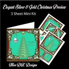 Elegant Silver &amp Gold Christmas Mini Kit by Donna Kelly This Mini Kit features an elegant tree and beautiful corner decorations. Kit includes a card front (approx 7x7) 2 large gift tags an insert and corner stackers. Also includes two sets of sentiment tags. One blank of eachSentiments include Across the Miles A Special Wish Someone Special Mum Dad Nana papa.