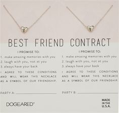 Dogeared Best Friend Contract, Set of 2 Heart Bead Necklaces Necklace Cute Best Friend Gifts, Bestie Gifts, Birthday Gifts For Best Friend, Presents For Friends, Cute Gifts, Best Friends, Best Friend Things, Present For Best Friend, Best Friend Christmas Gifts