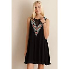 Sleeveless Shift Dress W/Front Embroidery Detailing