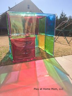 Stained Glass House Activities For Children Imagination, Outdoor Play, Play At Home Mom, Playing with Light Play At Home Mom Outdoor Education, Outdoor Learning, Outdoor Games, Outdoor Fun, Outside Activities, Preschool Activities, Outdoor Activities, Weather Activities, Reggio Emilia