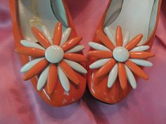 Flower Power Mod 60s Orange Flats/ Big Flowers/Orange and White Patent Leather/1960s Vintage Shoes/5/6/By Buskins on Etsy, $93.97