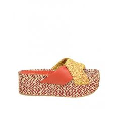 Paloma Barcelo Flat Elebolo in Cord (€107) ❤ liked on Polyvore featuring shoes, flats, leather shoes, wedge heel shoes, wedge flats, leather flats and orange wedge shoes