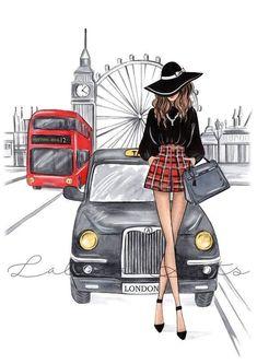 London City, Fashion Illustration Sketches, Fashion Sketches, Illustration Art, Dress Sketches, Fashion Sketchbook, Art Sketches, London Decor, London Wall