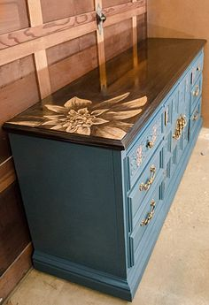 This is gorgeous. A girl can dream. Vintage Ornate Large Hollywood Regency by MODtiquechicago Staining Wood, Painted Furniture, Blue Dresser, Beautiful Decor, Refinishing Furniture, Interior Design Classes, Furniture Inspiration, Furniture Makeover, Vintage Dressers