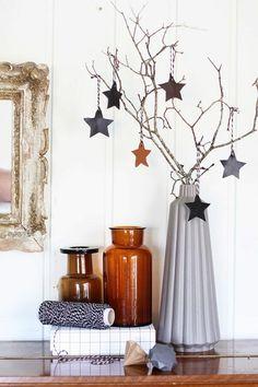 weihnachtsschmuck skandinavischer stil zweige sterne accessoires