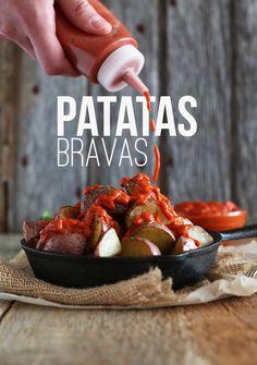 Simple, spicy patatas bravas - a favorite appetizer in Spain! #vegan #glutenfree