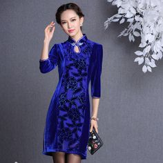 Diamond Blue Modern Short Qipao Dress - Qipao - Cheongsam - Women
