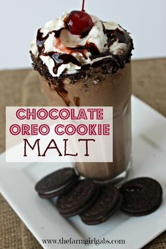 Chocolate Oreo Cookie Malt is a modern spin on the classic soda fountain malted milkshake. Both kids and adults will approve of this tasty ice cream drink.