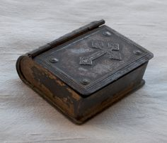 Antique Reliquary Keepsake Box with Embossed Cross from France French.
