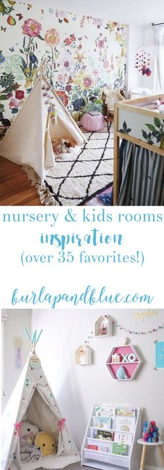 Planning a nursery or kids room? This post is filled with over 35+ ideas and inspiration for decorating nurseries and kids rooms!