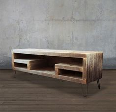Reclaimed Wood Media Console With Shelving - Free Shipping