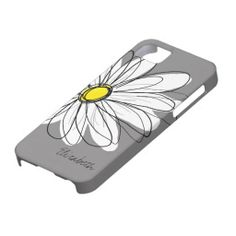 Trendy Daisy Floral Illustration - gray and yellow iPhone 5 Covers....ha ha totally izzy :)