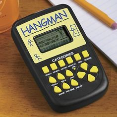 "The Swiss Colony Electronic Hangman by The Swiss Colony. $10.99. Has over 6,000 words, 6 categories and 3 skill levels, with hints available. For ages 8 and up. 1 1/2"" x 1"" LCD display. 3"" w x 5"" h. Uses 2 AAA batteries (included). Take this classic game anywhere for hours of fun and learning."
