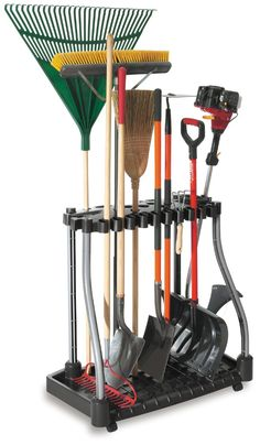 A tower rack in the corner gives you the perfect storage solution for brooms and other long handled items. Many of these are on wheels so you can easily roll them wherever you need them or get a stationary one to keep in the corner for permanent storage. Shovels, rakes and other longer tools store perfectly. Via: Amazon.com