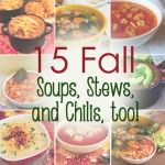 15 Fall Soup Recipes--Can't wait to try some of these, especially the Olive Garden copycat soup, chili, and spaghetti and meatballs soup.