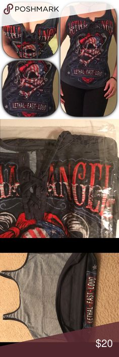 💋SEXY LETHA ANGEL TANK TOP💋 This Fun Tank top has a cute edgy design with a lace up front. Can be tied closed or left open. Let this be your edgy, sexy and patriotic look for the holidays. Tops Tank Tops