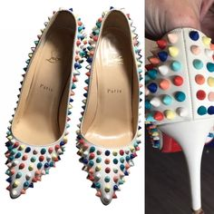 :120mm Gomme Pigalle Pumps With Multicolor Spikes 115mm or 4.5 inches high Leather upper with matte lacquered spikes. Point toe. Leather lining. Signature red leather sole Rainbow spikes Padded insole. Made in Italy  Condition: Comes with original dust bag, box and extra spikes and hardware from the factory  Item Details Type:Pumps Size:8 Heel Height:Ultra High 4 + Heel Style:Stiletto Brand:Christian Louboutin Color:Multicolor Style/Collection:120mm Gomme Pigalle Pumps With Multicolor Spikes…