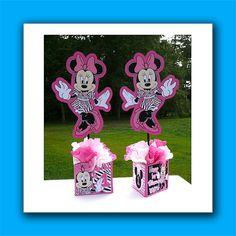 DIY & Supply Kit Small Personalized Zebra Minnie Mouse Birthday Party Centerpiece zebra print