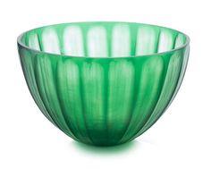 John Richard Pumpkin Cut Emerald Glass Bowl Large