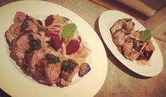 Lamb Back strap with fresh mint sauce and a fennel, orange, beetroot salad