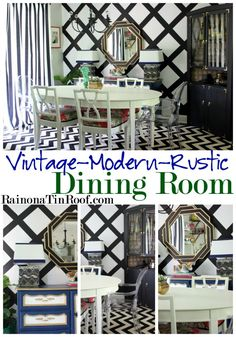 Need dining room inspiration? This Vintage Modern Rustic dining room is full of character and easy ideas. Vintage-Modern-Rustic Dining Room via RainonaTinRoof.com