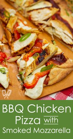 This easy BBQ Chicken Pizza with Smoked Mozzarella was a HUGE hit with my family! Super simple to put together and using my favorite BBQ sauce and a store-bought pizza crust flatbread or naan dinner was ready in 15 minutes. Perfect for busy weeknight Easy Bbq Chicken, Chicken Pizza Recipes, Chicken Recepies, Turkey Recipes, Fish Recipes, Dinner Recipes, Meal Recipes, Instant Pot, Good Pizza
