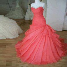 2015 Wedding Dresses,Watermelon Red Wedding Dresses, 2015 Organza Wedding Dresses