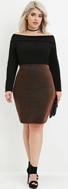 8886fe817b1 Plus Size Metallic Pencil Skirt Plus Size Pencil Skirt