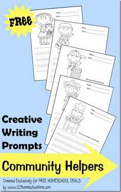 "FREE creative writing prompts: community helpers | The creative writing prompts each contain a black & white illustration your child can color as well as a writing prompt and lines. These are perfect for preschool, kindergarten, and early elementary aged kids. Also: other ideas/links to develop a ""Community Helpers"" unit (traditional Kindergarten social studies)"