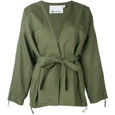 T By Alexander Wang Kimono jacket (6.907.585 IDR) ❤ liked on Polyvore featuring outerwear, jackets, green, cotton kimono, cotton jacket, green jacket, kimono jacket and t by alexander wang