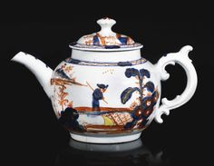A Vauxhall teapot and cover, circa 1758-64 of compressed globular form, affixed with a double scroll moulded handle, painted in Chinese Imari style in iron-red, yellow, underglaze-blue and gilding with an oriental figure crossing a bridge beneath a diaper patterned border