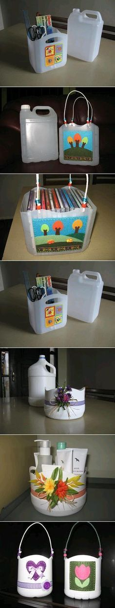 DIY Plastic Bottle Baskets reciclando embalagens de plasticos