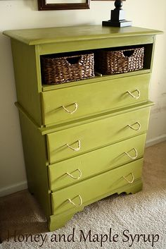 Cool way to turn an ugly dresser into an awesome dresser!