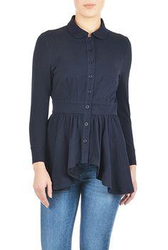 I <3 this Cotton knit high-low hem top from eShakti