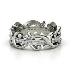 Sterling Silver Ring with Diamond | Atlantis Eternity Band | Gemvara